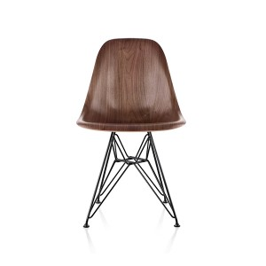 Eames Molded Wood Side Chair, Wire Base