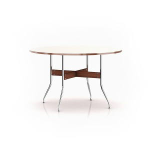 Nelson Swag Leg Dining Table with Round Top, White